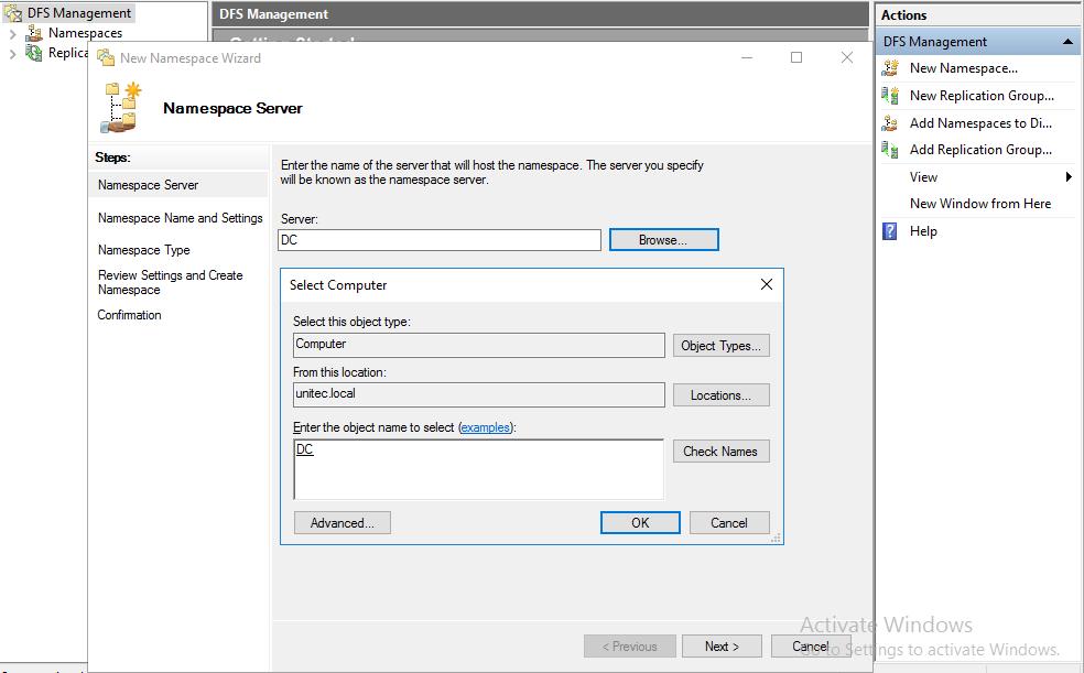 Создание Namespace шаг 1