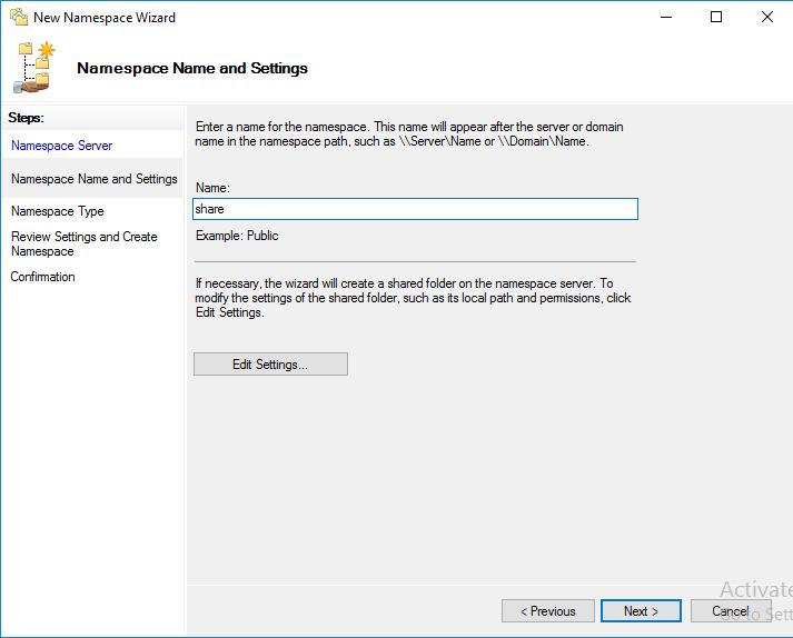 Создание Namespace шаг 2