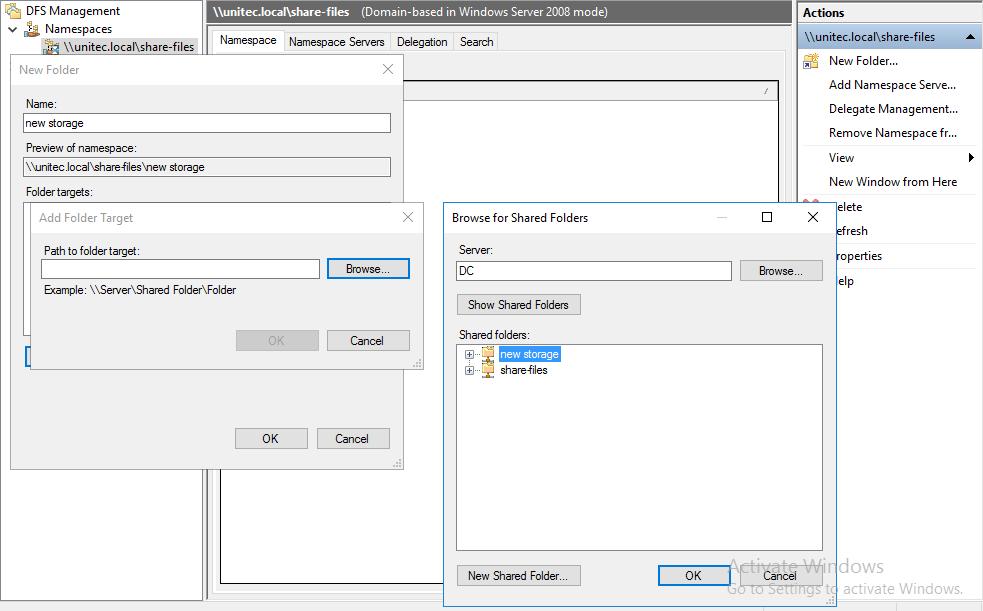 Создание папки в Namespace