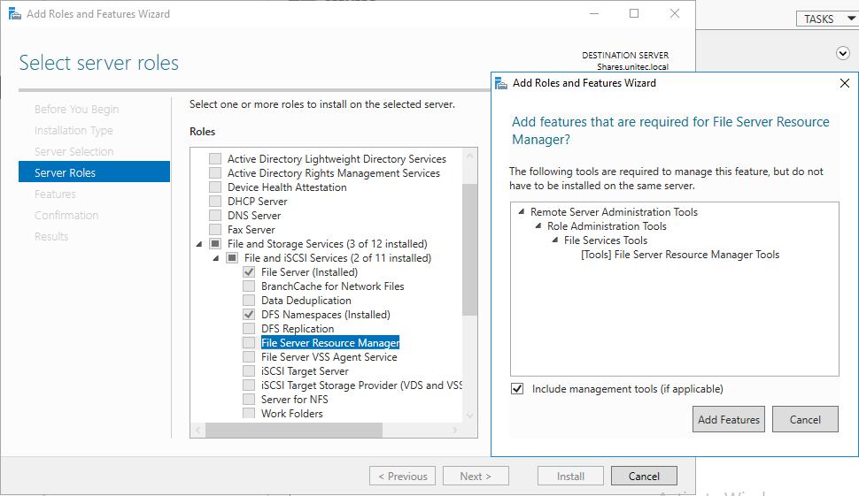 Установка File Server Resource Manager шаг 1